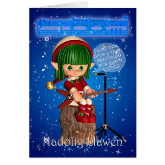 Nuit silencieuse de carte de Noël de Gallois, dros