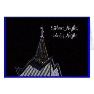 Nuit silencieuse de Steeple d'église Carte De Vœux