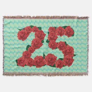 Numéro 25 roses rouges du 25ème anniversaire couvre pied de lit
