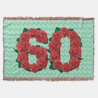 Numéro 60 roses rouges du soixantième anniversaire couvre pied de lit