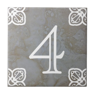 Numéro de maison - blanc espagnol sur la chaux petit carreau carré