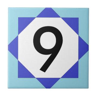 Numéro de maison marocain de bleu d'étoile petit carreau carré