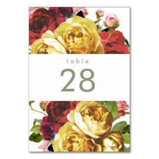 Numéro De Table Jardin anglais Vintages Roses Mariages Numéros de