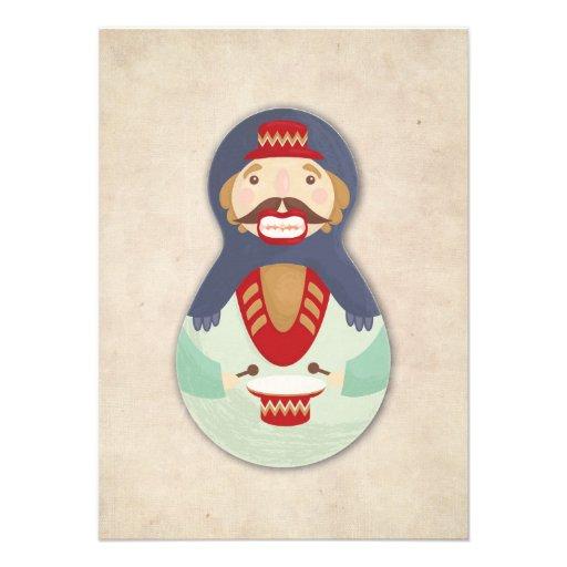 Nutcracker, Russian doll christmas card Invitations Personnalisées