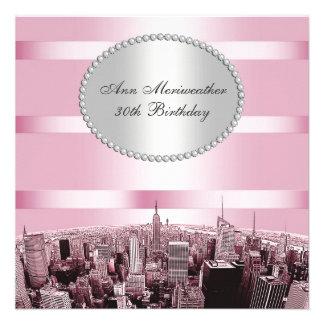 NYC a gravé à l eau-forte l anniversaire noir rose Cartons D'invitation