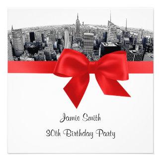 NYC a gravé à l eau-forte l anniversaire rouge de Faire-part