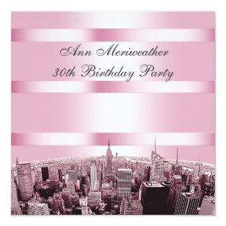 NYC a gravé à l'eau-forte l'anniversaire noir rose Carton D'invitation 13,33 Cm
