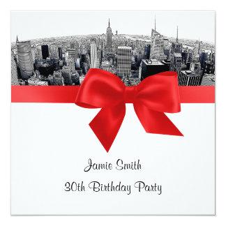 NYC a gravé à l'eau-forte l'anniversaire rouge de Carton D'invitation 13,33 Cm