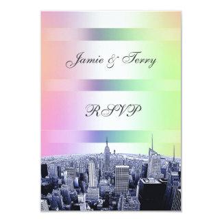 NYC a gravé à l'eau-forte l'arc-en-ciel en pastel Carton D'invitation 8,89 Cm X 12,70 Cm