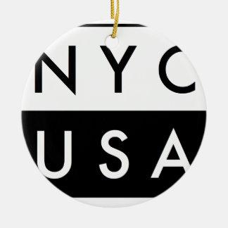 NYC ETATS-UNIS ORNEMENT ROND EN CÉRAMIQUE