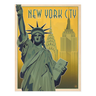 NYC - Madame Liberty - jaune Carte Postale