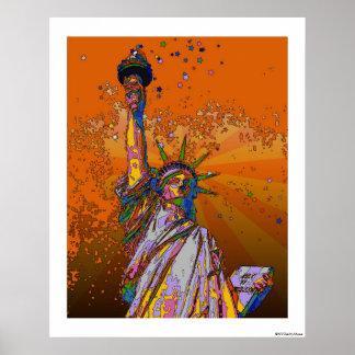 NYC psychédélique : Statue de la liberté 001 Poster