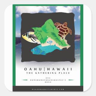 Oahu Hawaï - le lieu de rassemblement Autocollants Carrés
