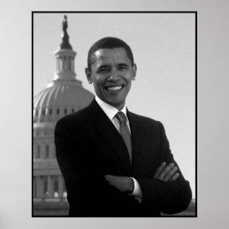 Obama au bâtiment de capitol -- Noir et blanc Poster