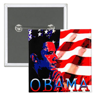 Obama avec le drapeau américain badge carré 5 cm