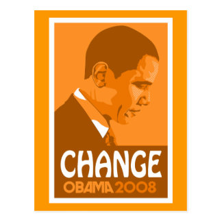 Obama - changez la carte postale orange-foncé