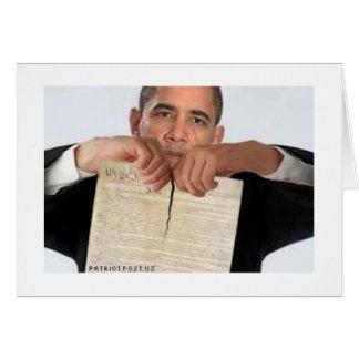 Obama déchirant la constitution carte de vœux