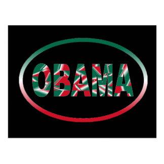 Obama - vert, carte postale blanche et rouge