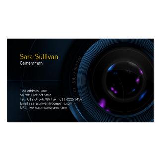 Objectif de caméra de carte de visite de cameraman