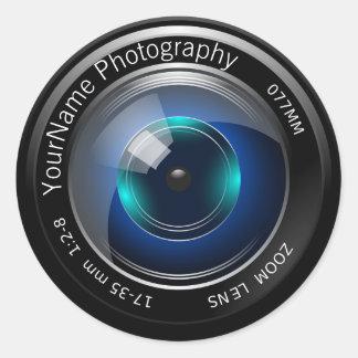 Objectif de caméra personnalisé sticker rond