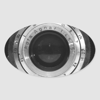 Objectif de caméra vintage stickers ovales