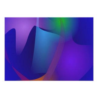 Objets abstraits dans la salle bleue faire-part personnalisables