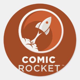 Obscurité comique de logo de Rocket Sticker Rond