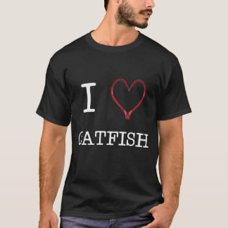 [OBSCURITÉ de T-shirt du poisson-chat I de coeur]