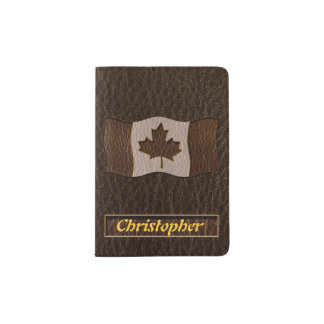 Obscurité simili cuir de drapeau du Canada Protège-passeports