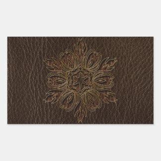 Obscurité simili cuir d'étoile de fleur stickers rectangulaires
