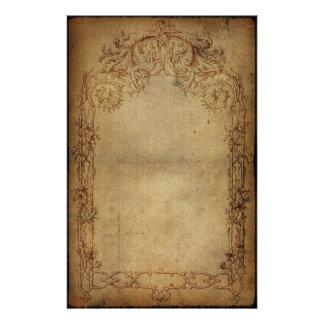 Obscurité vintage 2 d'élégance papier à lettre customisé