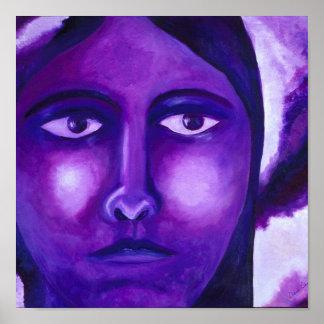 Observant, compassion pourpre abstraite de déesse poster