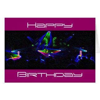 Observez la carte d'anniversaire de rotation du DJ