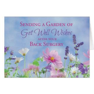 Obtenez bien après la chirurgie du dos, fleurs de carte de vœux