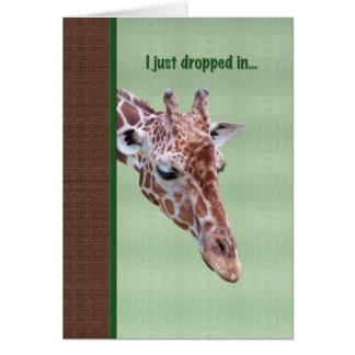 Obtenez la carte bonne avec la girafe curieuse