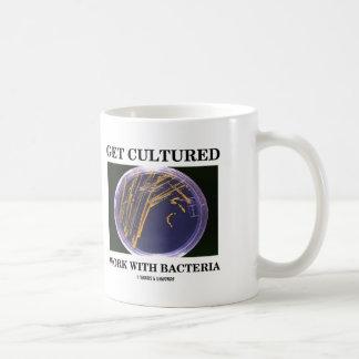 Obtenez le travail cultivé avec des bactéries (le mug blanc