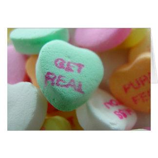 Obtenez le vrai coeur de sucrerie carte de vœux