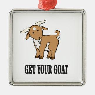 obtenez votre plaisanterie de chèvre ornement carré argenté