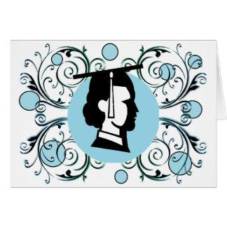 Obtention du diplôme bleue de Flourish de point Cartes De Vœux