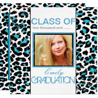 Obtention du diplôme bleue d'empreinte de léopard carton d'invitation  13,33 cm