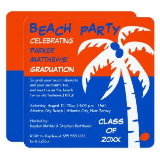 Obtention du diplôme de palmier et de noix de coco carton d'invitation  13,33 cm