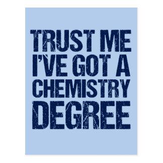 Obtention du diplôme drôle de chimie cartes postales