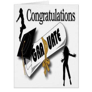 Obtention du diplôme (femelle) noire grand Gre de  Carte De Vœux