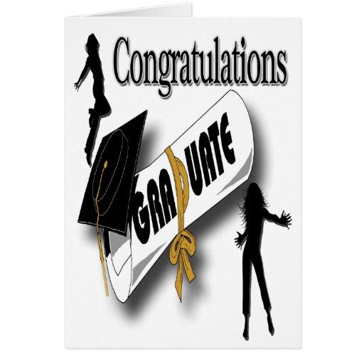 Obtention du diplôme (femelle) noire Greetin de ca Carte De Vœux