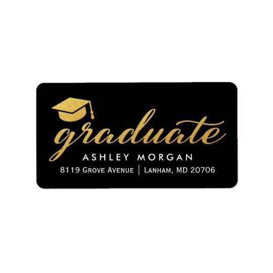 Obtention du diplôme licenciée de manuscrit de étiquette d'adresse