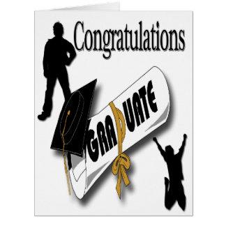 Obtention du diplôme noire de casquette de diplômé carte de vœux grand format