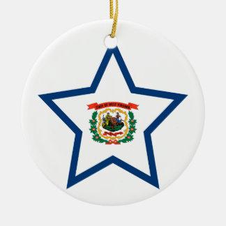 Occidental+Étoile de la Virginie Ornement Rond En Céramique