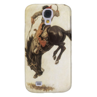 Occidental vintage, cowboy sur un cheval coque galaxy s4