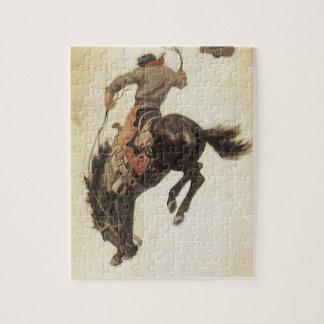 Occidental vintage, cowboy sur un cheval puzzle
