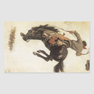 Occidental vintage, cowboy sur un cheval sticker rectangulaire